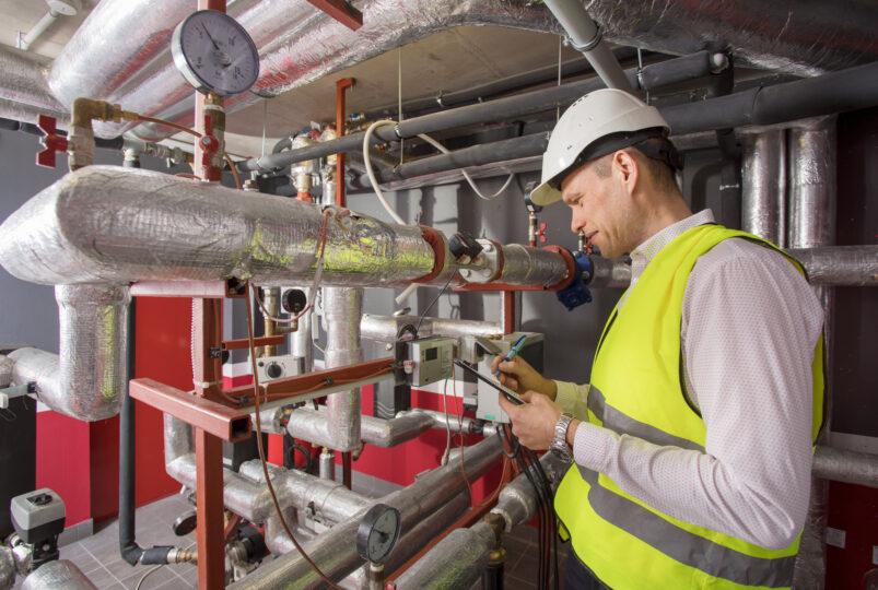 Man working on energy efficiency