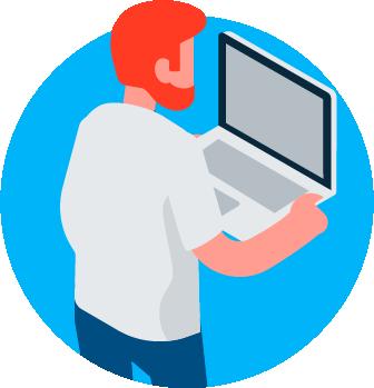 analyst on laptop illustration